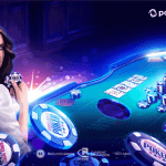 a girl with poker chips next to her