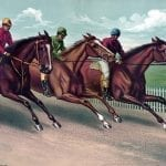 a painting of three horsemen racing on their horses