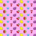 slot symbols like watermelon, cherries, diamonds pon a pink background